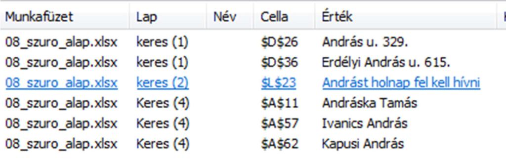 Excelben keresés után a találatok listázása