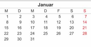 Excel naptár: 2018 Januar - de ez még nem öröknaptár